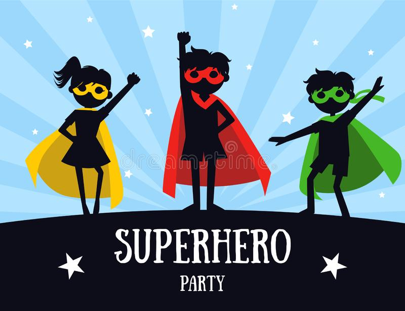 Superhero Party Banner, Cute Kids in Superhero Costumes and Masks, Birthday Invitation, Landing Page Template Vector stock illustration