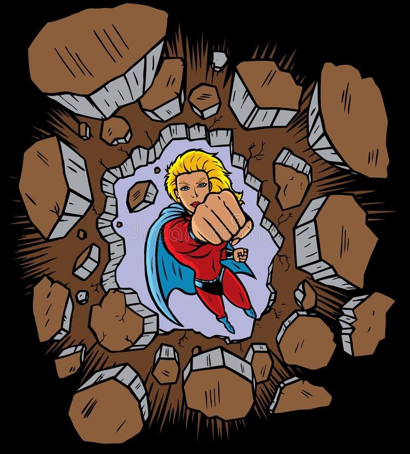 Superhero poinçonnant par le mur illustration de vecteur