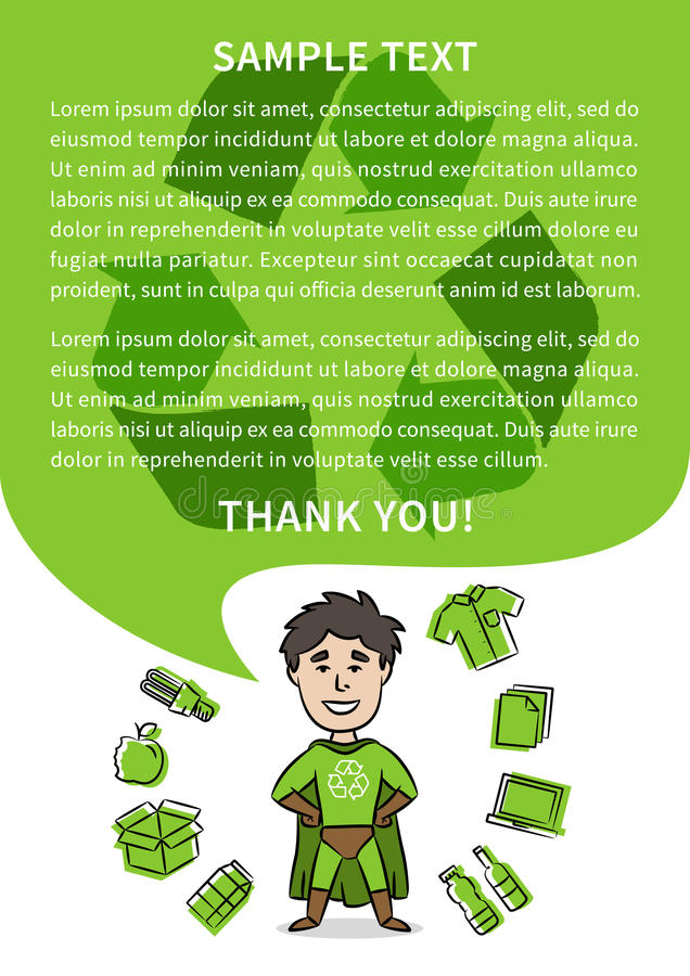Superhero with recycle sign vector illustration stock illustration