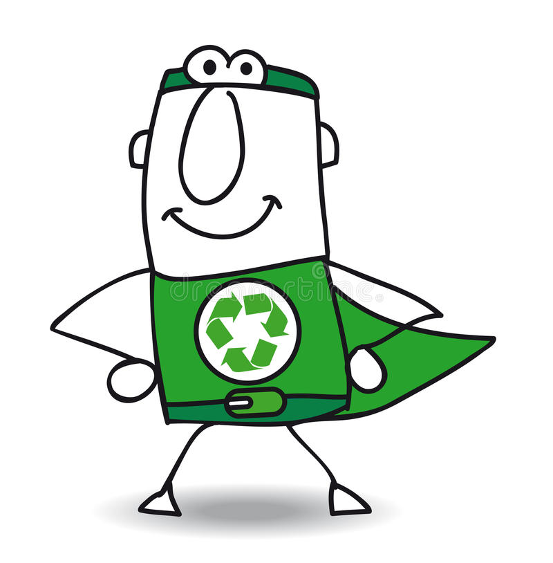 Superhero of recycling is coming back royalty free illustration