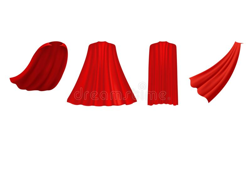 Superhero red cape in different positions, front, side stock illustration