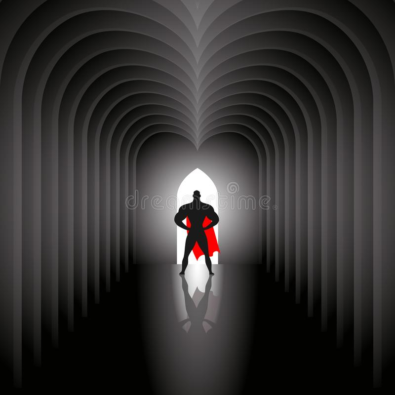 Superhero in tunnel vector illustration