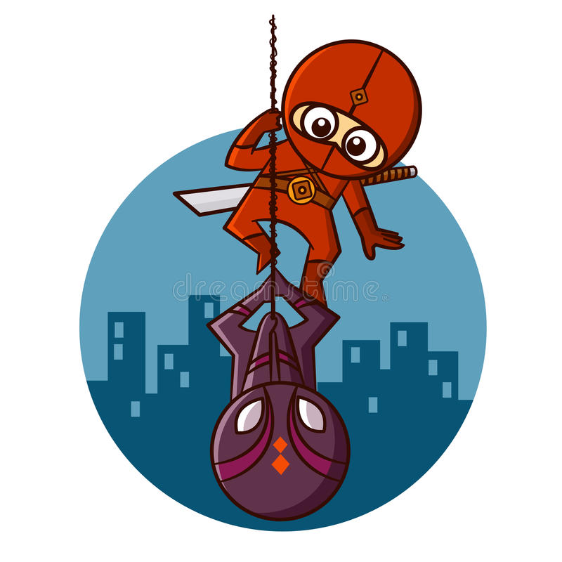 Superhero Red Ninja on the background of a night city Sticker stock illustration