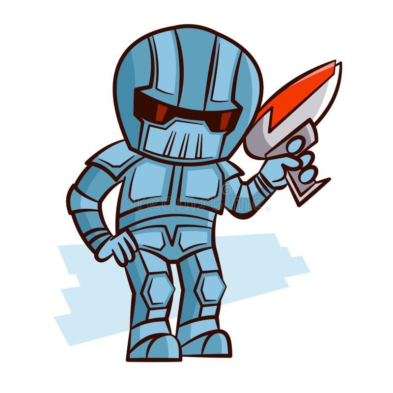 Superhero Robot with Blaster Pistol Sticker royalty free illustration