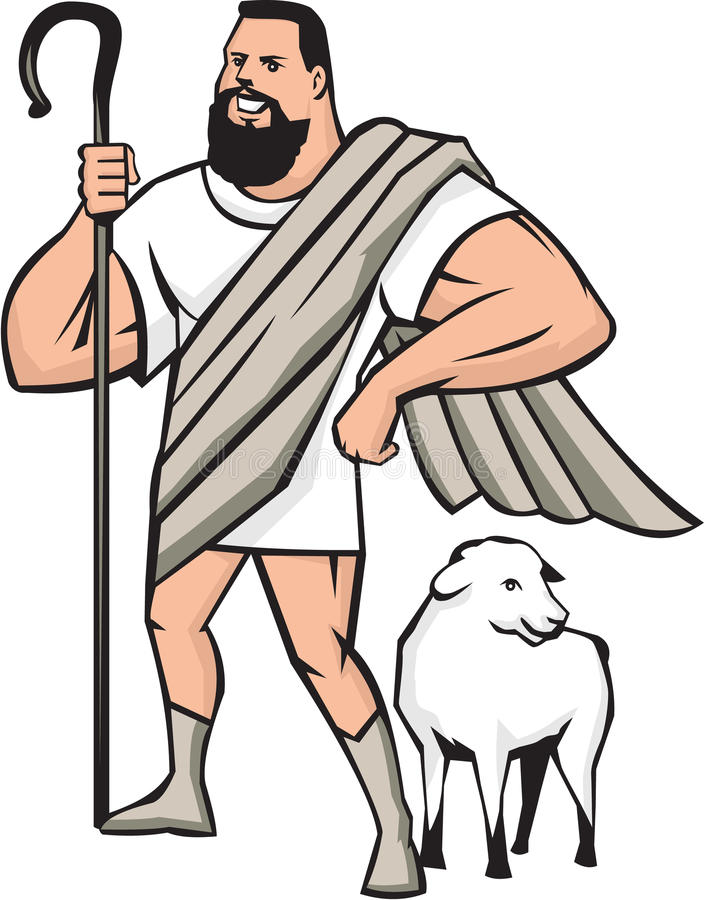 Superhero Shepherd Sheep Standing Cartoon. Illustration of a cartoon superhero shepherd holding shepherd's crook and a sheep standing beside looking to the side vector illustration