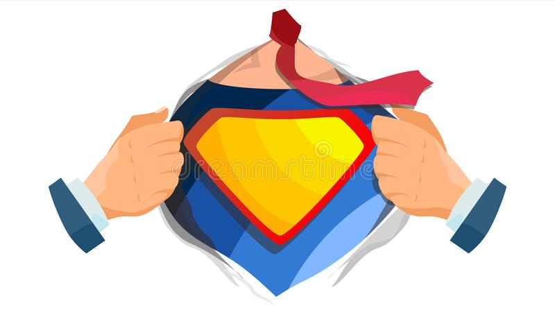 Superhero Sign Vector. Super Hero Open Shirt With Shield Badge. Place For Text. Isolated Flat Cartoon Comic Illustration royalty free illustration