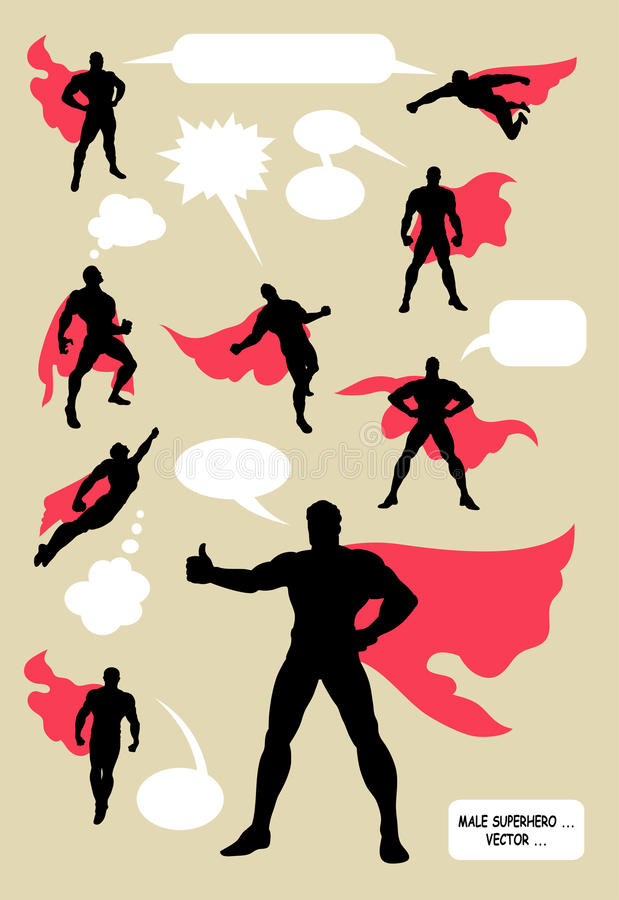 Superhero silhouettes. Superhero in action with blank speech bubbles. Nice and detail silhouettes, good use for your symbol, logo, sticker, or any design you royalty free illustration