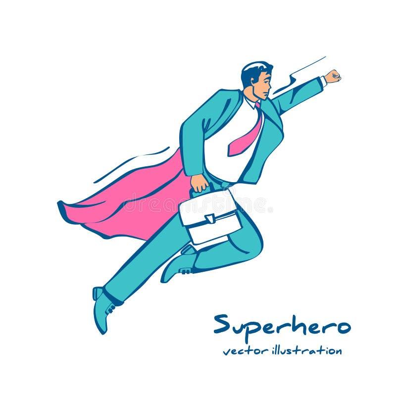 Superhero-Sketch-Symbol Ein Mensch in einem roten Mantel fliegt hinauf, um eine Leistung zu erledigen stock abbildung