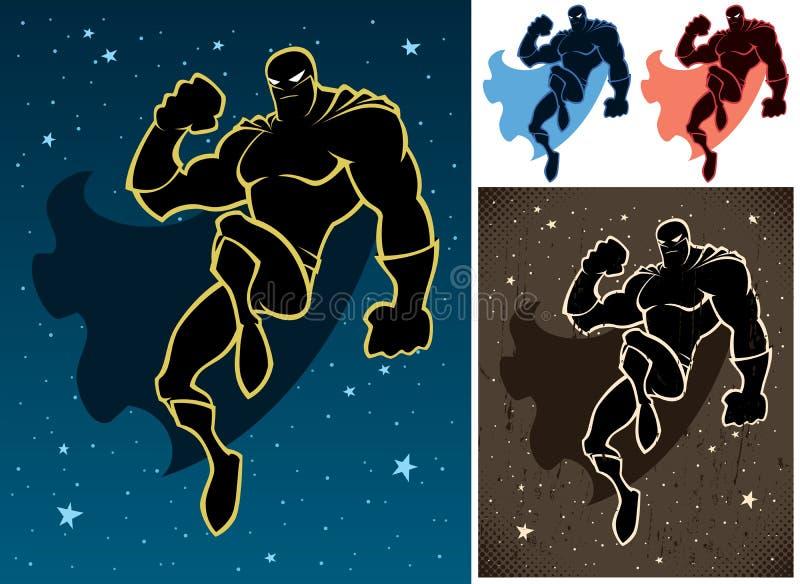 Superhero In The Sky stock illustration