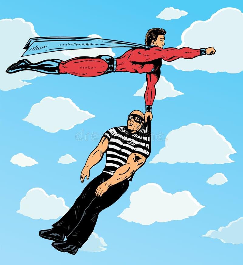 Superhero som fångar rackaren. stock illustrationer