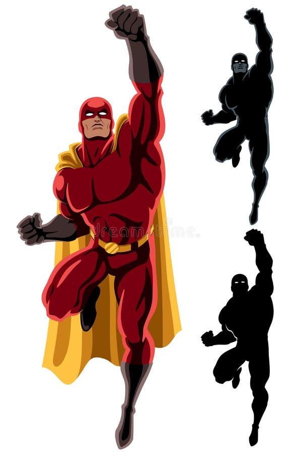 Superhero som flyger 2 royaltyfri illustrationer