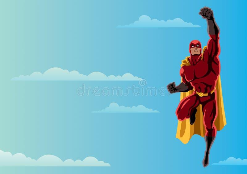 Superhero som flyger himmel 2 stock illustrationer