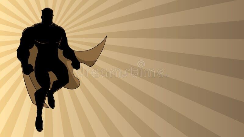 Superhero som flyger Ray Light Silhouette 2 stock illustrationer
