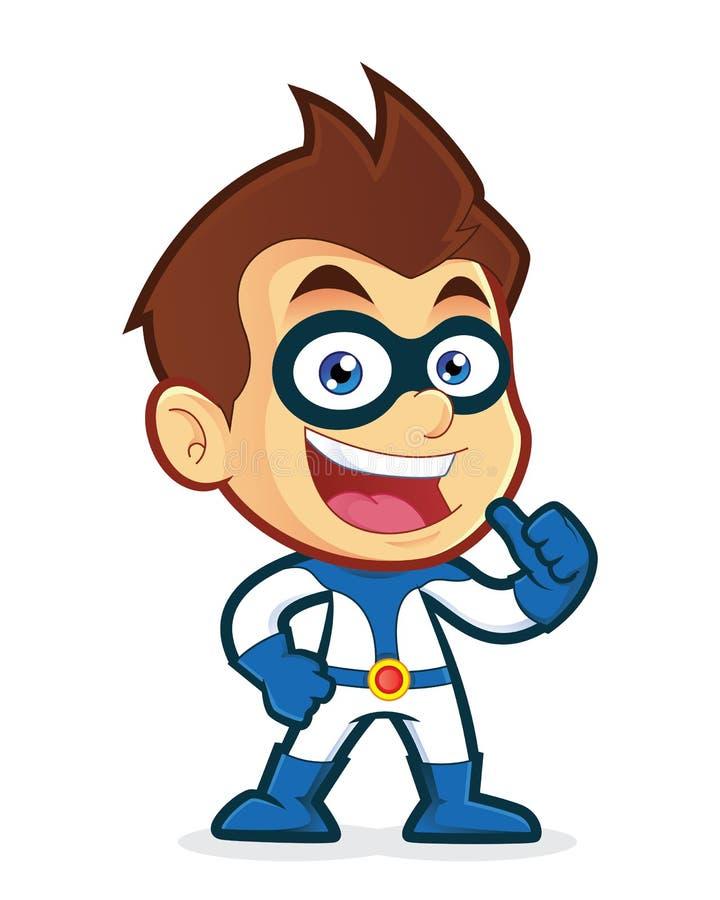 Superhero som ger upp tummar vektor illustrationer