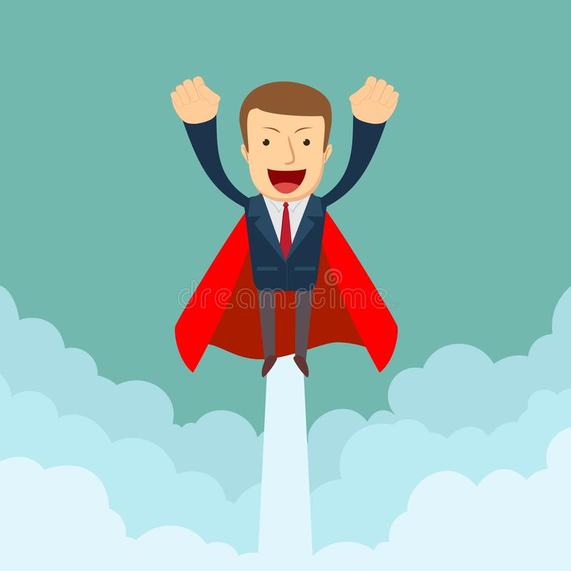 Superhero super successful businessman flying in the sky. stock illustration