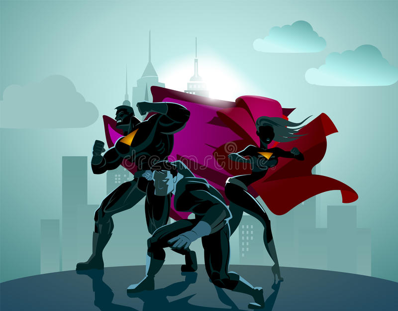 Superhero Team; Team of superheroes. vector illustration