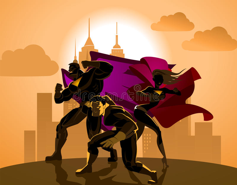Superhero Team. Team of superheroes. Superhero Team. Team of superheroes, posing in front of a light royalty free illustration