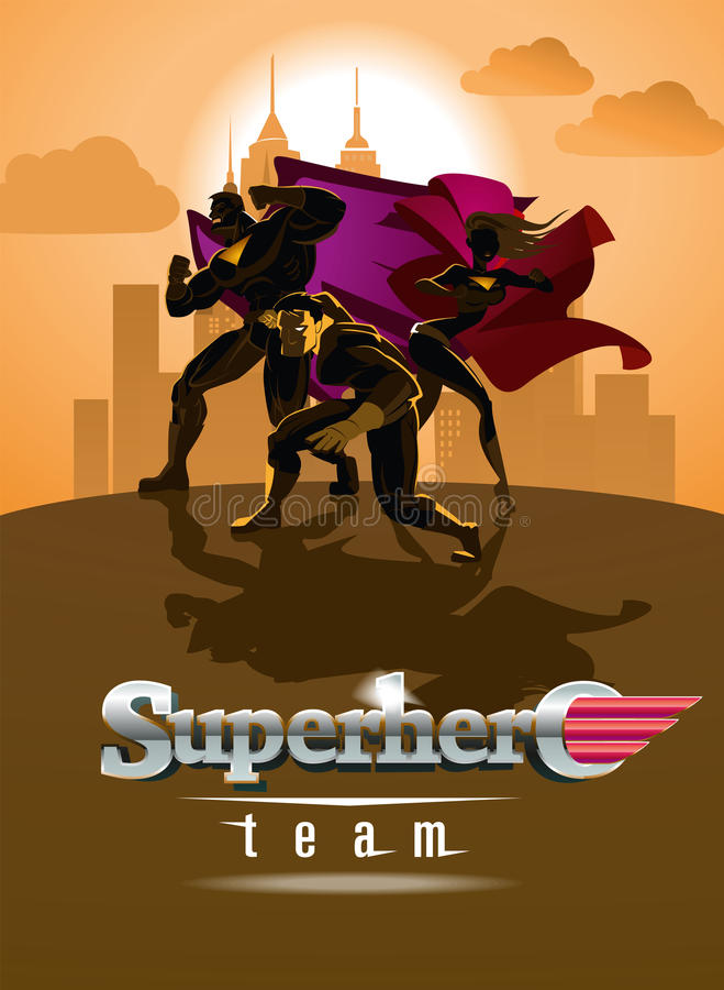 Superhero Team; Team of superheroes, posing in front of a light. Vector illustration royalty free illustration