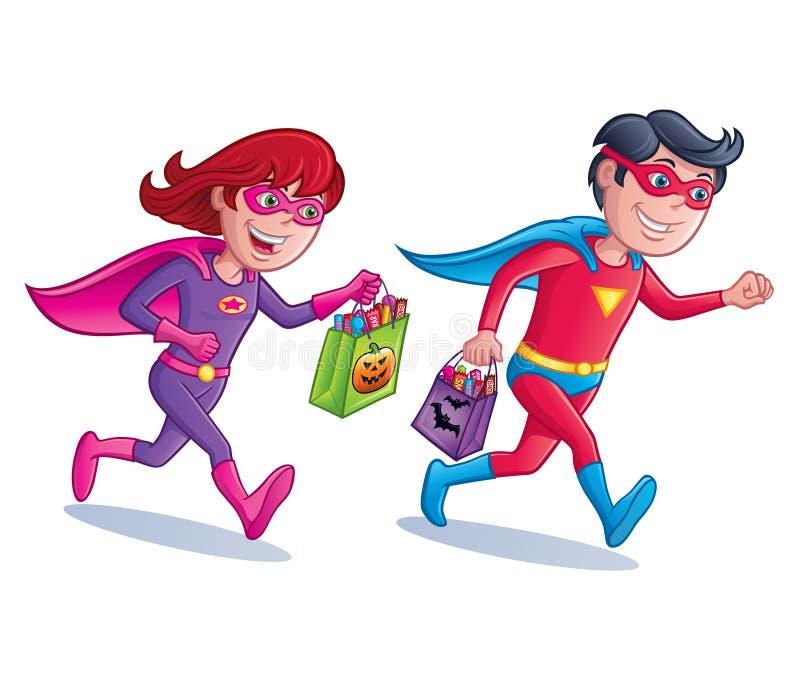 Superhero Trick or Treaters stock illustration