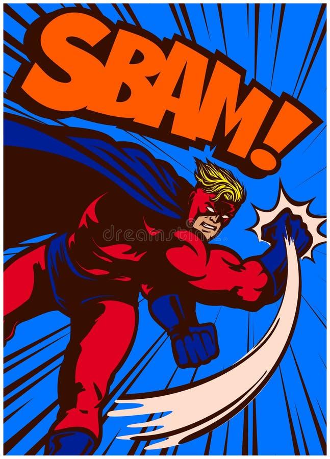 Superhero van het pop-art grappige boek in actie ponsen en het vechten vectorillustratie royalty-vrije illustratie