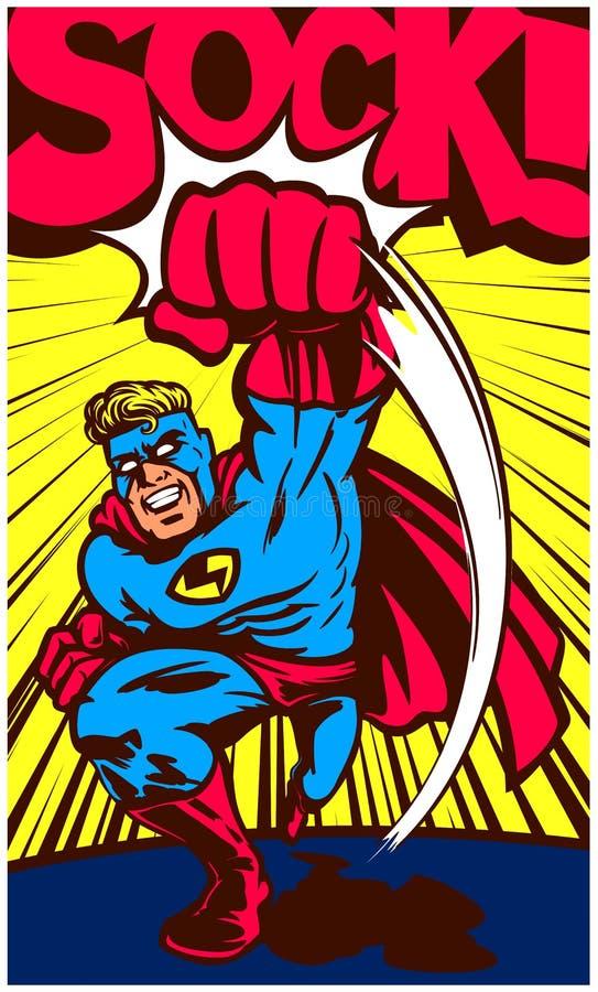 Superhero van het pop-art grappige boek ponsen en het vechten vectorillustratie royalty-vrije illustratie
