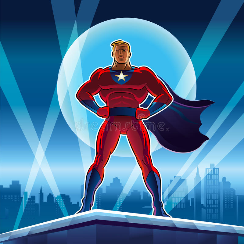 Superhero. Vector illustration on a background stock photo