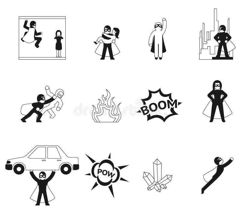 Superhero vectorelementen royalty-vrije illustratie