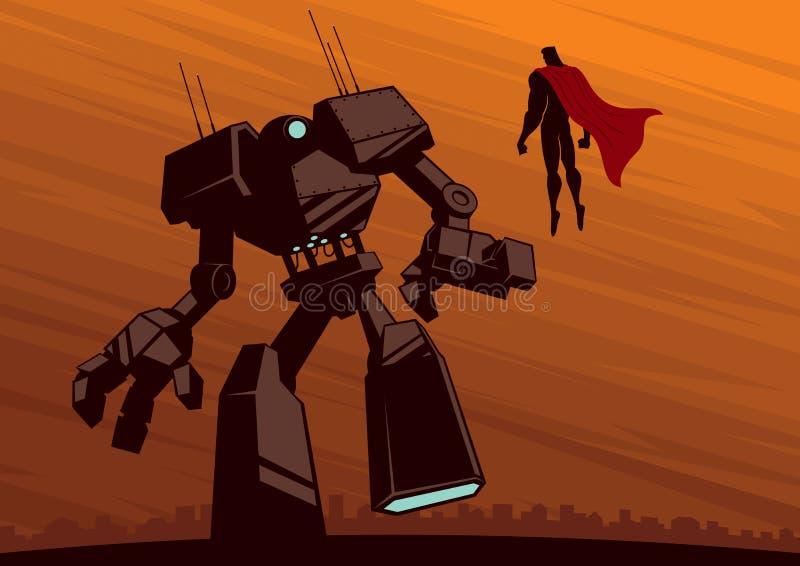 Superhero versus Robot 2 stock illustration