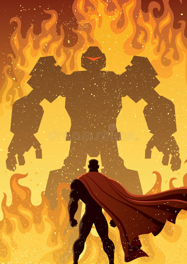 Superhero Versus Robot stock illustration