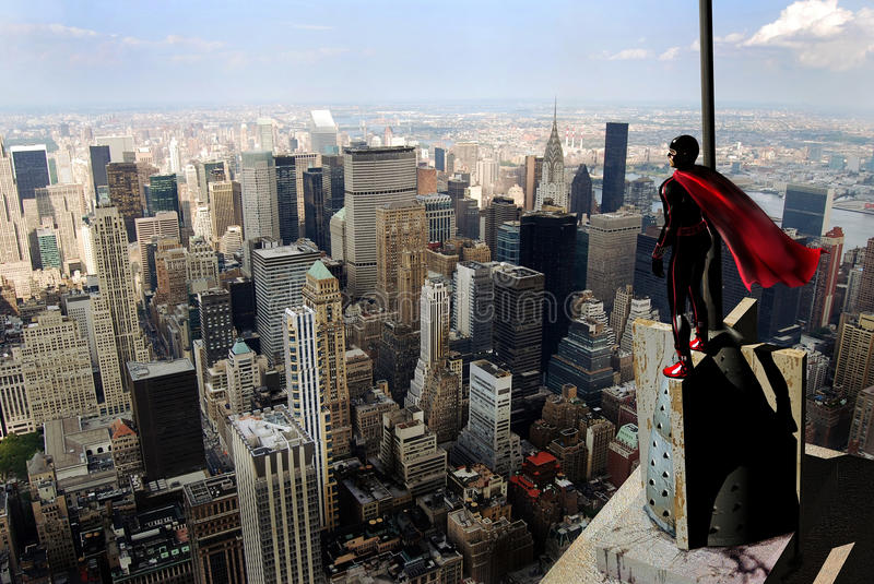 Superhero watch. A superhero, on the top of a building, observes the city , watching for who needs him. Image created with aspect of comic drawing