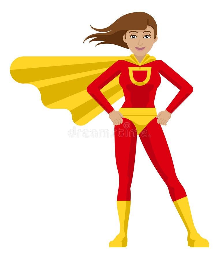 Superhero Woman Cartoon royalty free illustration