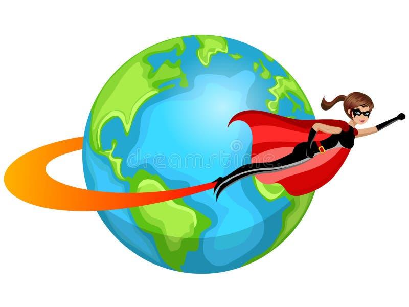 Superhero woman flying around world isolated vector illustration