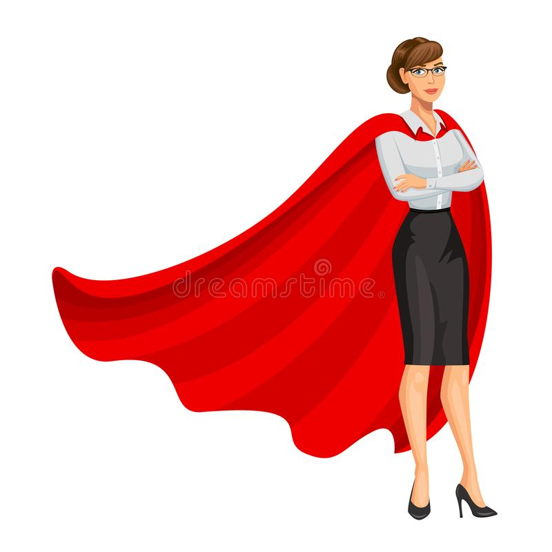 Superhero woman in red cape, female hero, businesswoman. Superhero. Girl in business style look. Professional Women. Success concept. Vector, 10 eps royalty free illustration