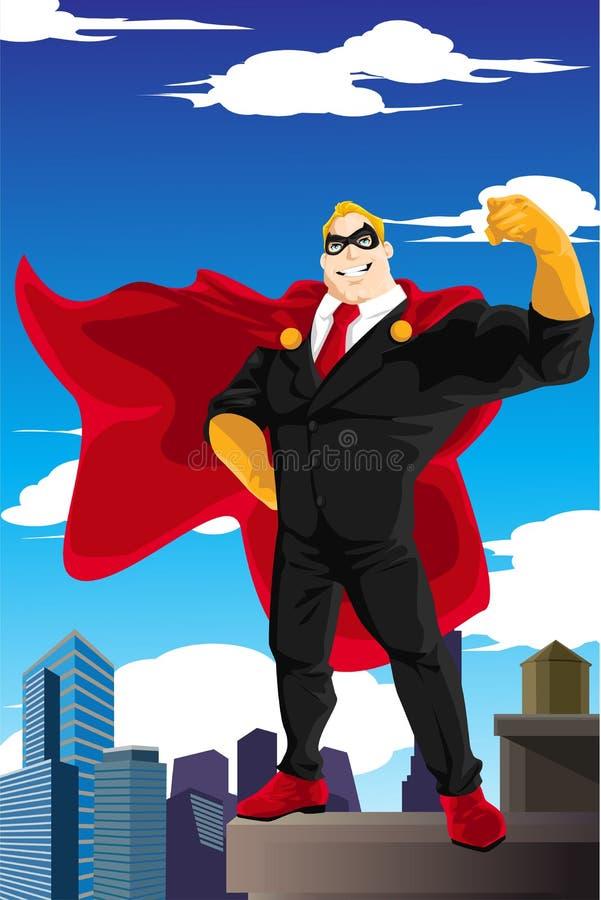 Superheroaffärsman royaltyfri illustrationer