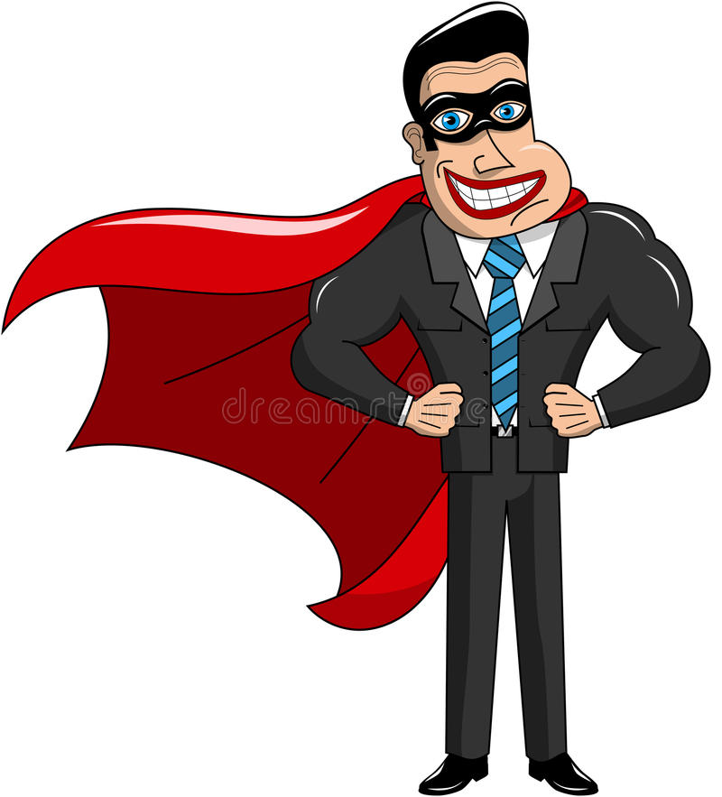 Superheroaffärsman Masked Isolated vektor illustrationer