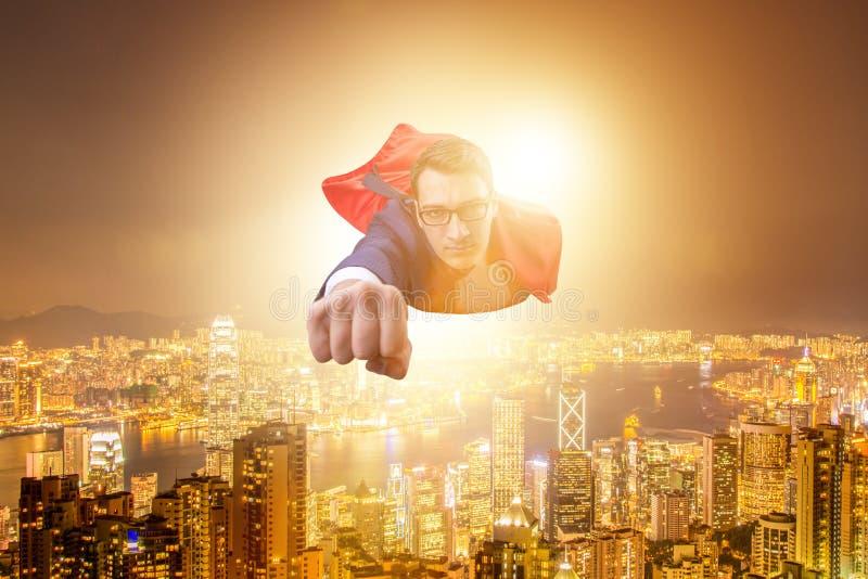 Superheroaffärsmanflyget över staden vektor illustrationer