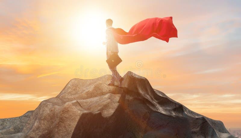 Superheroaffärsmannen överst av berget stock illustrationer