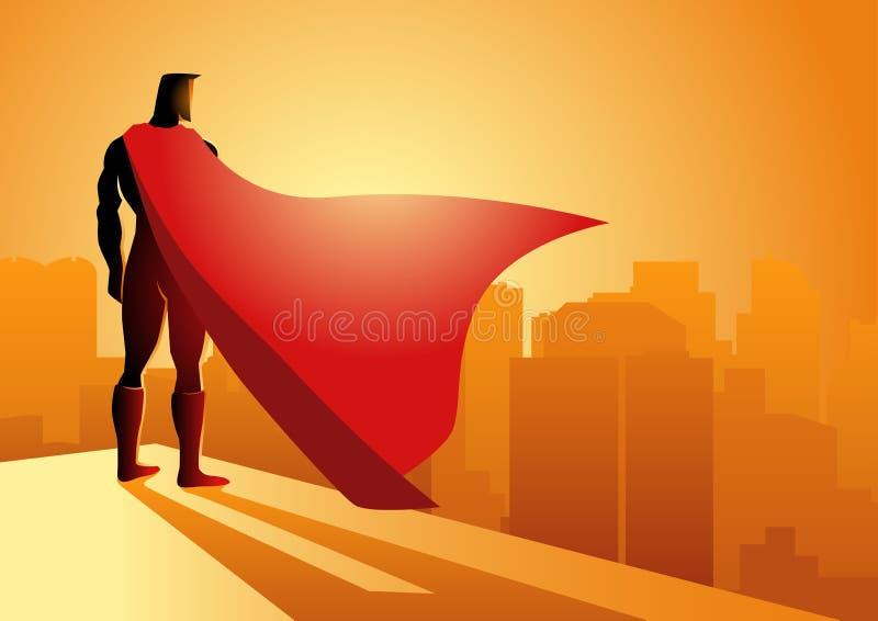 Superheroanseende på kanten av en byggnad vektor illustrationer