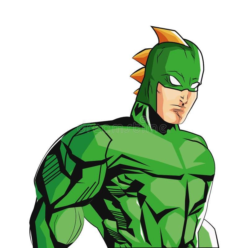 superheroe masculino do estilo cômico com ícone uniforme verde ilustração do vetor
