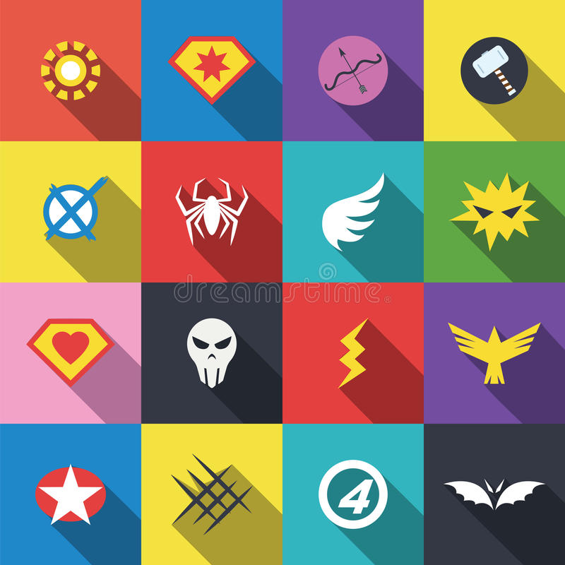 Superheroemblemlogo stock illustrationer
