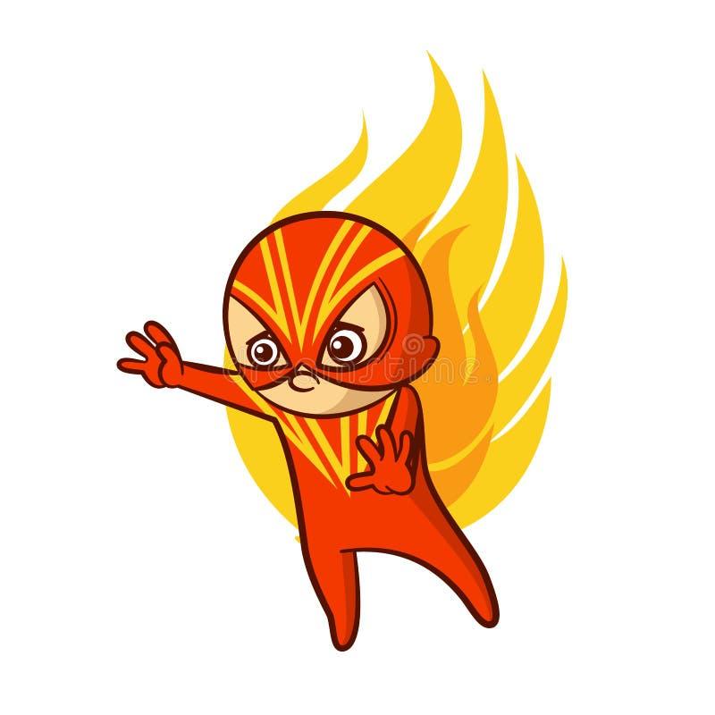 Superheroen behandla som ett barn pojkebrandklistermärken stock illustrationer