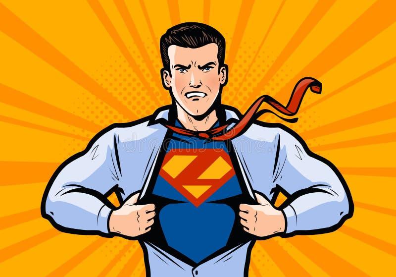 Superheroen eller affärsmannen river hans skjorta Vektorillustration i komisk popkonst för stil royaltyfri illustrationer
