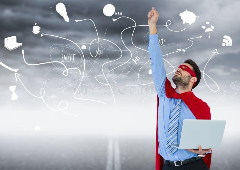 Superheroen för affärsmannen med bärbara datorn och handen i luft mot vägen och stormig himmel med affär klottrar royaltyfri illustrationer