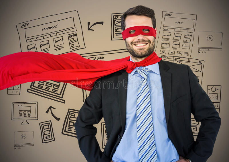Superheroen för affärsmannen med händer på höfter mot brun bakgrund med websiten klottrar stock illustrationer
