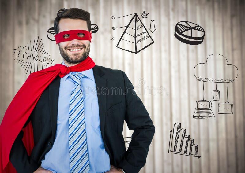 Superheroen för affärsmannen med händer på höfter mot oskarp wood panel med affär klottrar vektor illustrationer