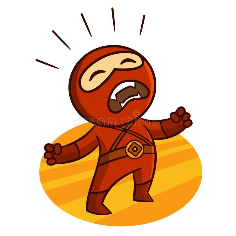 Superheroen röda Ninja skriker klistermärken vektor illustrationer