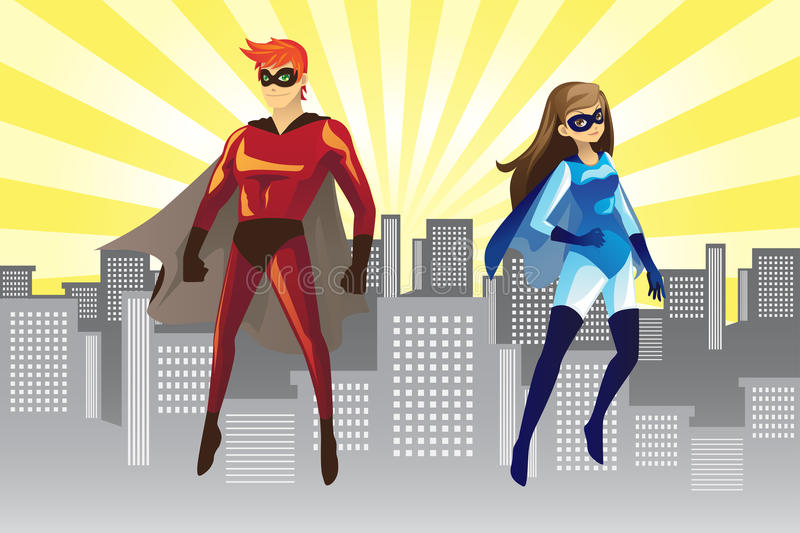 Superheroes stock illustration