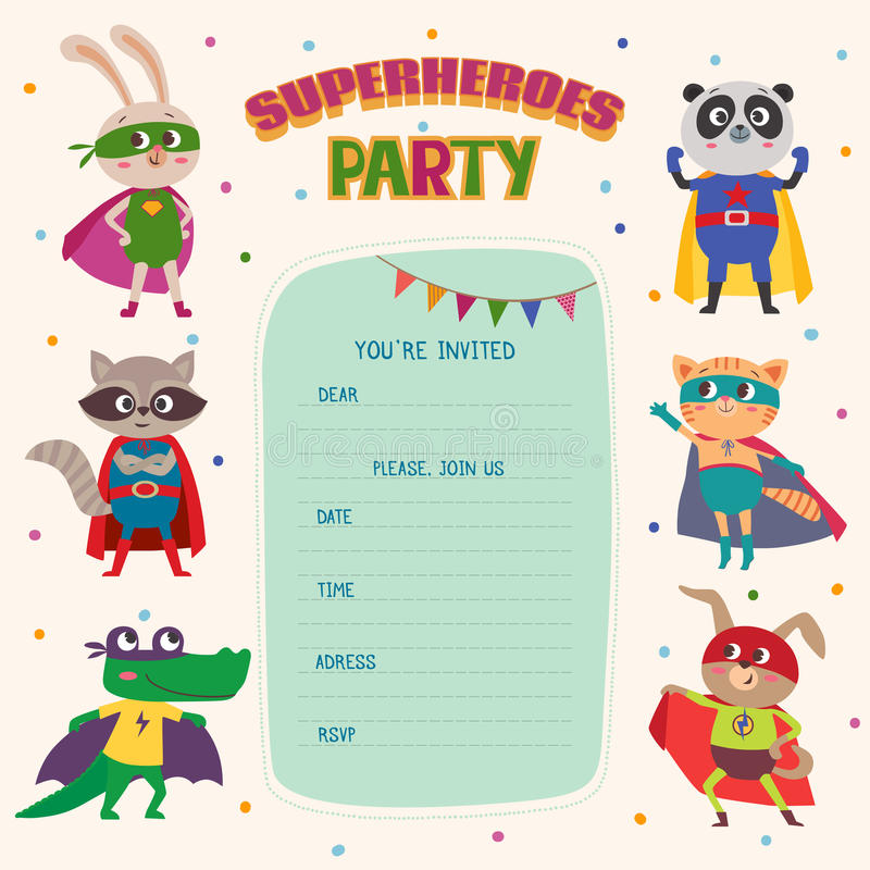 Superheroes. Card invitation with group of cute little animals vector illustration