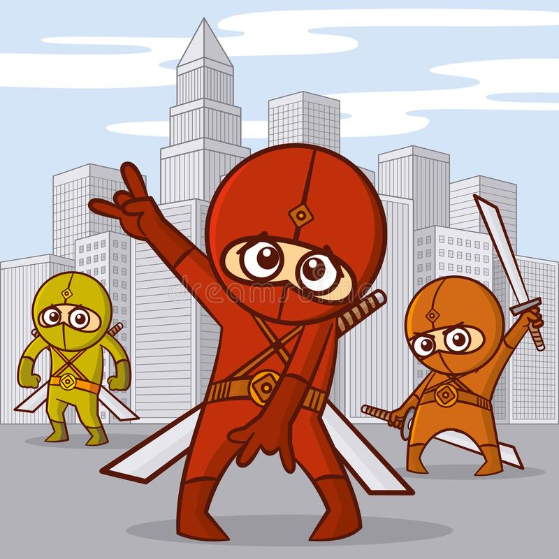 Superheroes Cartoon character. Superheroes in the city Cartoon character Vector illustration royalty free illustration