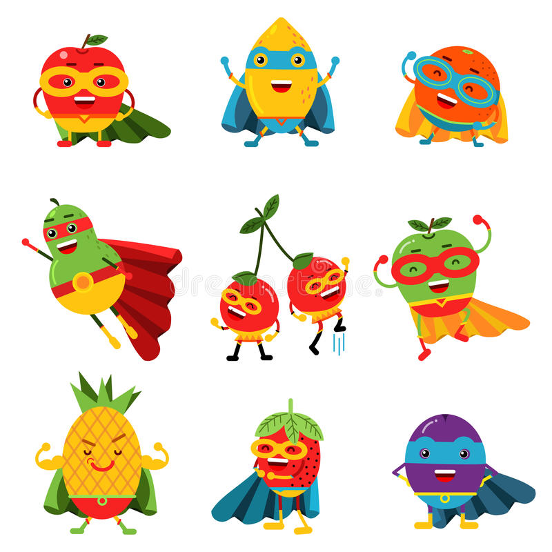 Free Superheroes Fruits In Different Costumes Set Of Colorful Vector Illustrations Royalty Free Stock Image - 94297026